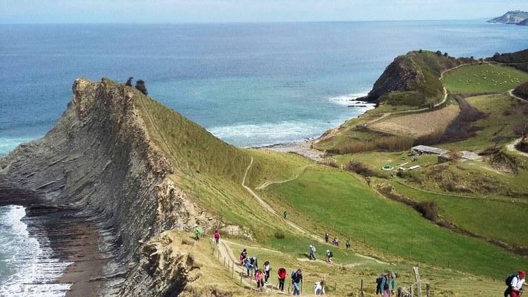 The Flysch Trail (GR 121) through Sakoneta beach, located inside the Basque Coast Geopark