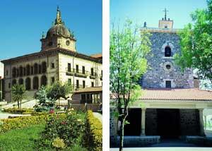 Palacio de Valdespina en Ermua, e iglesia de Arrate